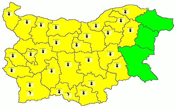 Жълт код за високи температури в 25 области